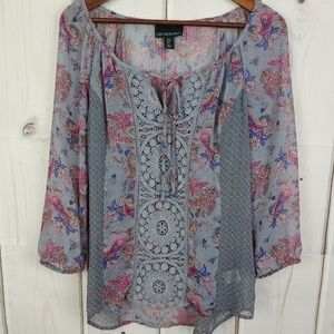 Cynthia Rowley Gray Sheer Lace Blouse Sz S